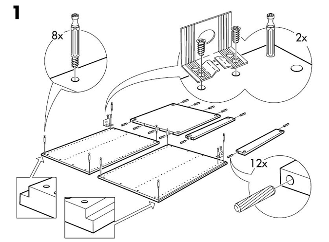 comparing an iFixit photo to Ikea's manuals